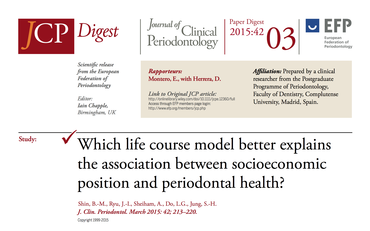JCP Digest 03 explores links between socio-economic status and periodontal health