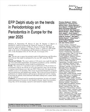 EFP's Delphi study predicts rise in implant-related diseases as it forecasts perio trends to 2025