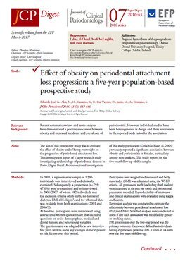 Obesity is risk factor for progression of periodontal attachment loss in women – JCP Digest