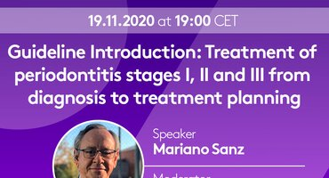 New season of EFP Perio Sessions webinars launches on 19 November with introduction to clinical-practice guideline by Mariano Sanz
