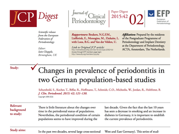JCP Digest 02: German study shows prevalence of periodontitis is still high and suggests extensive need for treatment