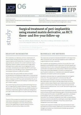 Use of EMD in treatment of peri-implantitis may improve implant survival time