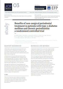 Periodontal therapy appears to improve glycaemic control in chronic-periodontitis patients with type-2 diabetes