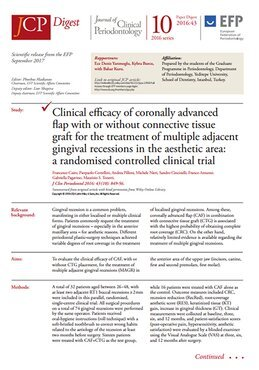 Coronally advanced flap surgery is more effective in treating certain multiple gingival recessions when combined with connective tissue graft – JCP Digest