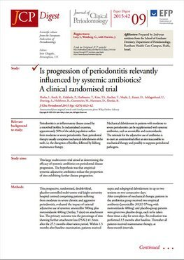 JCP Digest 09 considers influence of systemic antibiotics and progression of periodontitis