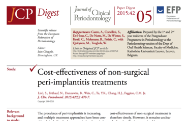 JCP Digest 05 assesses cost-effectiveness of non-surgical treatments for peri-implantitis