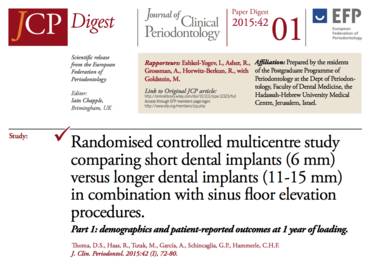 New cycle of JCP Digest starts with insight on use of shorter dental implants for patients with atrophied posterior maxilla