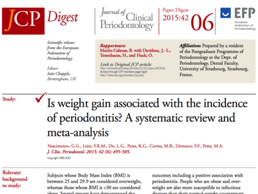 JCP Digest 06 explores links between weight gain and periodontal disease