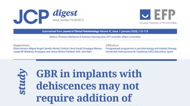 JCP Digest: GBR in implants with dehiscences may not require addition of autogenous chips