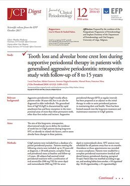 Latest issue of JCP Digest focuses on generalised aggressive periodontitis