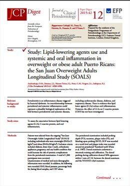 Use of lipid-lowering agents may have an effect in reducing oral and systemic inflammation, study shows